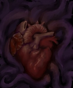 digital painting of heart and tentacles