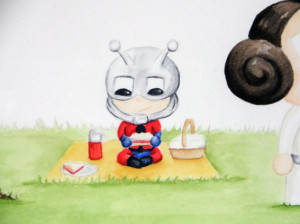 watercolour of Ant Man having a picnic
