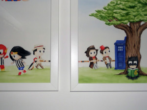 watercolour of several Dr Whos playing tug of war