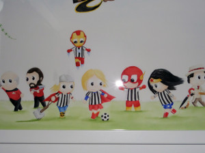 watercolour of superheroes playing football in Newcastle United Shirts