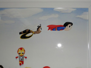 Watercolour of Superman and Storm from X-men chasing each other