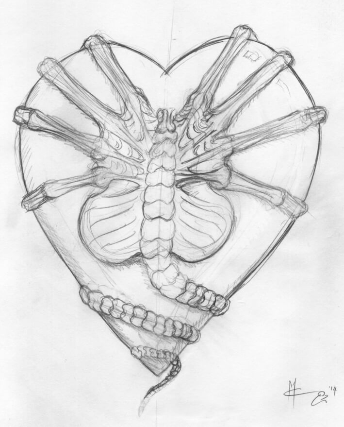 facehugger on heart